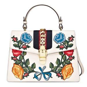 Gucci Medium Sylvie Top Handle Leather Satchel Bag